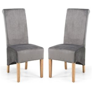 KRISTA ROLL BACK BRUSHED VELVET GREY DINING  CHAIRS x 2 (a pair)