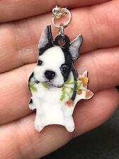 "French Bulldog Dog w/ Roses Enamel Charm Tibetan Silver 18"" Necklace D-100"