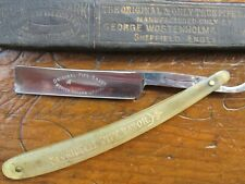 SHAVE READY Antique Wostenholm & Son Straight Razor Original Pipe Etched 5/8 BOX