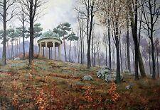 Original Russian oil on canvas USSR Socialist realism Painting Landscape 2012