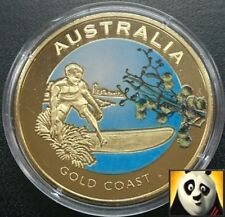 2010 Australia 40mm Gold Coast color moneda medalla de bronce sólo 10,000! + certificado De Autenticidad