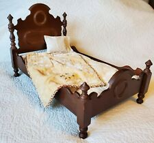 Antique Victorian Wood Large Doll Bed With Bedding