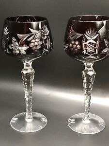 """VTG 2 Mid Century Bohemian Cut Clear Crystal Oxblood Red Cordial Glasses 5 1/4"""""""