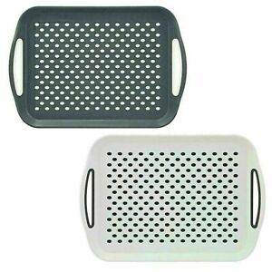 2 x ANTI-SLIP PLASTIC SERVING TRAY WITH HIGH GRIP RUBBER SURFACE - WHITE & GREY