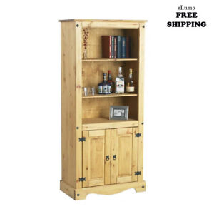 Large Kitchen Pantry 2 Doors Cupboard Wooden Cabinet Storage Rustic Tall Unit Uk