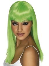 GLAMOURAMA LADIES LONG LIME GREEN STRAIGHT GLAMOUR WIG FOR FANCY DRESS