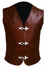 Mens Brown Real Leather Motorbike Motorcycle Biker Rider Casual Vest Waistcoat