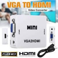 VGA to HDMI Mini Full HD Video 1080P Audio Converter Adapter for PC DVD Laptop