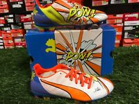 Puma Size 4 EvoPOWER 3.2 POP FG Soccer Cleats Jr White / Orange / Blue
