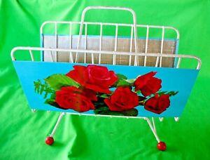 Old vintage atomic era mid century Roses decorated magazine or LP records rack