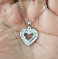 14k White Gold Baguette Diamond Heart Pendant Necklace