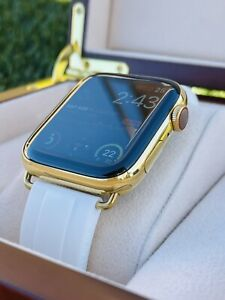 Custom 24K Gold Plated 45MM Apple Watch SERIES 7 White OYSTERFLEX ROLEX Band