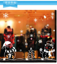 White Snowman Christmas Decorations for Home Living Room Glass Window Background