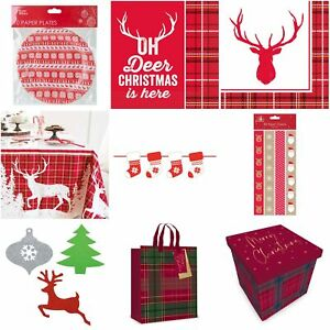 Christmas Tartan Plaid Tableware Decorations Gift Boxes Gift Bags Table Cover
