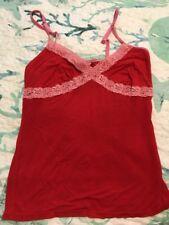 Victoria Secret PINK Pajama Tank Top Red Soft Lace Nightie Nighty Slip New XS S