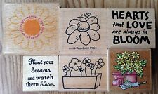 Lot of 6 Flower Phrase All Night Media Savvy Whipper Snapper Rubber Stamps