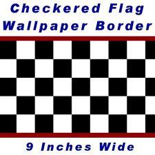 "9""Checkered Wallpaper Border NASCAR Car Diner Racing F1"