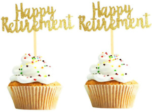 30PCS Happy Retirement Cupcake Topper Gold Glitter Retirement Party Supplies Ret