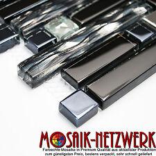 Black Diamant Glasmosaik Stäbchen schwarz Stahl Mosaik Fliese silber 86-0302_b