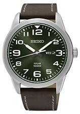 Seiko Men's Sne473 Silver Leather Quartz Fashion Watch