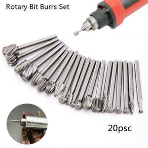 20pc HSS Carbide Burr Set Rotary Drill Bits Die Grinder Carving Engraving Dremel