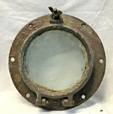 Vtg Salvaged Ship Port Hole Hinged Window Glass Nautical Boat Decor