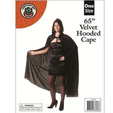 65 POLLICI lungo adulto BLACK VELVET con Cappuccio Dracula Mantello Cloak HALLOWEEN FANCY DRESS