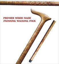 "Stunning Wood Walking Stick-34"" to 36"" -Free Post-Rubber Toe-Elegant Design"