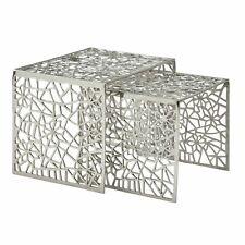 WOHNLING Couchtisch 2er Set Wohnzimmertisch Aluminium Silber Beistelltisch Tisch