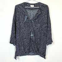 Seed Heritage Womens Black/Grey Long Sleeve Ruffled CrossOver Blouse Top Size 12