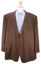 ERMENEGILDO ZEGNA Made for BB King Brown Windowpane Wool Sportcoat Blazer US 60R