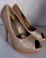 Damenschuhe Pumps Plateau High Heels Peep-Toes Goldfarbig Glitter  Gr.36 NEU