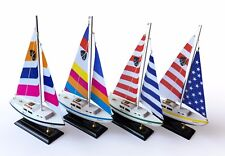 "Columbia Wooden Nautical Sail Boat Ship Model 16"" Set of 4"