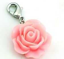 SILVER PLATED PINK ROSE FLOWER CLIP ON CHARM