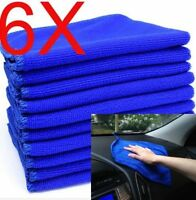 Blue Microfiber 6PCS Absorbent Towel Car Clean Wash Polish Multi-function Towel