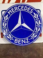 VINTAGE STYLE ''MERCEDES BENZ'' GAS & OIL PUMP PLATE 12 INCH PORCELAIN SIGN