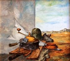 SAMMY ZILKHA , Oil on Canvas, Surreal Still Life in The Landscape, signed