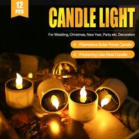 12x Candela Senza Fiamma Tremolare Ad Energia Solare A Led A Lume Di Candela LED