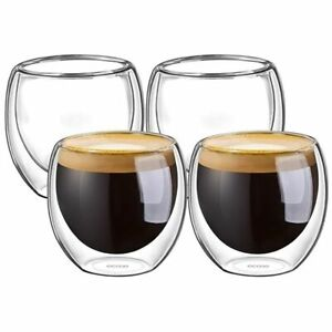 4Pcs Double Wall Insulated Espresso Cup 80mL Coffee Latte Whiskey Drinking Glass
