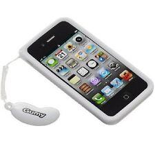Nouveau blanc Jvc Gumy Coque arrière pour Apple iPhone 4 4S Poignée Souple Caoutchouc Silicone