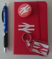 BR BRITISH RAIL RED NOTEBOOK  + PEN KEYRING AND RED BADGE WHITE LOGO