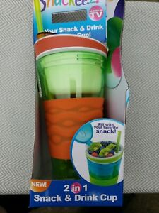 New Snackeez 2 In 1 Drink And Snack Cup New In Box As Seen On Tv! Orange & Green