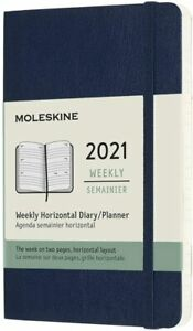 Moleskine Weekly Horizontal 2021 Diary - Soft Cover with Elastic Closure - Blue