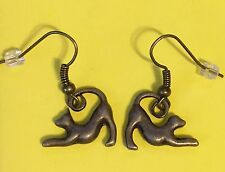 Playbow Greyhound or Whippet Dog Charm Fishhook Earrings, Bronze