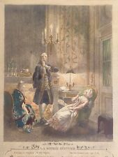 ANTIQUE 1774 FRENCH LA SOIREE D'HYVER FREUDENBERGER HAND PAINTED ENGRAVING PRINT