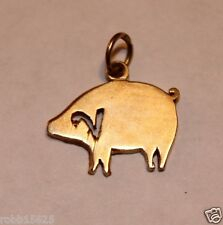 PIG PENDANT - (1.6 Gram) 14k Yellow Gold Estate Piggy Pig Razorback Hog CHARM