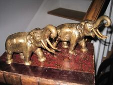 Vintage Pair Heavy FineCasting Brass Elephant Book End Standing wTrunks Up c1950