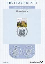 BRD 2014: Kloster Lorsch! Ersttagsblatt der Nr. 3050 mit Bonner Sonderstempel!