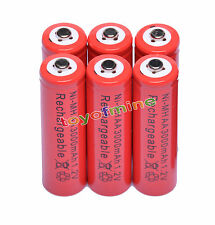 6x AA 2A 3000mAh 1.2V Ni-Mh Red Color Rechargeable Battery Alarm Clock MP3 RC