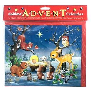 Caltime Advent Calendar Vintage Christmas Baby Jesus Animals NIP Made In England